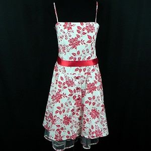 Red Floral Dress with Crinoline